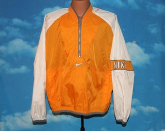 Nike Orange White Pullover Windbreaker Jacket Medium Vintage 1990s