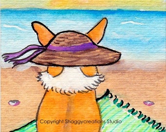 Beach Days Corgi Art Card Original Painting ACEO ~ Animal Art ~ Pembroke Welsh Corgi Art Beach Blanket Art ~ Nursery Decor Sunset watercolor