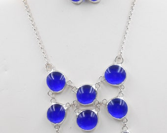 Glass Bib Chainmaille Pendant or Set in Rainbow, Blue or Mirror