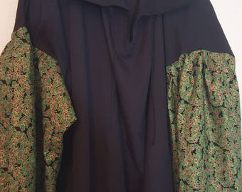 XL Embroidered Black with Holly Print Sleeves Pirate Poet Shirt