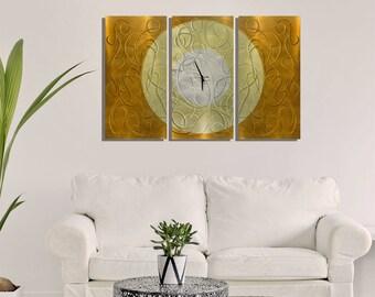 Large Golden Copper Modern Metal Wall Clock - Handcrafted Abstract Timepiece - Functional Art - Autumn Moon by Jon Allen