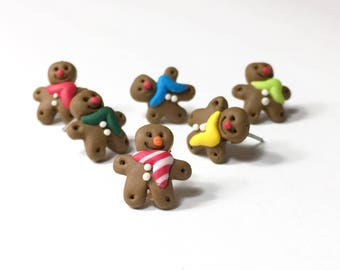 Gingerbread man earrings Hypoallergenic surgical steel gingerbread cookie earrings Winter scarf various colors Christmas Gift Gift for her