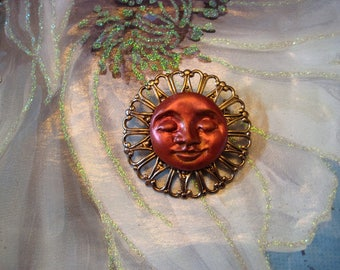 Copper Moon Face Pin, brooch, pendant, polymer clay, necklace, jewelry, whimsical, celestial, spirit, moon, harmony