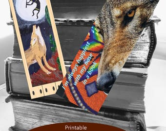 Printable DIY Bookmarks Set of 2 Coyote Theme PDF Download