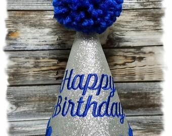 Dog Birthday Hat, Royal Blue Birthday Hat, Happy Birthday Hat, Birthday Hat for Dogs, Dogs First Birthday, Dog Theme Party, Pet Birthday