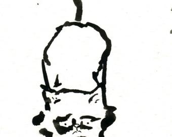 Original Black Cat Gouache Painting ACEO number 154