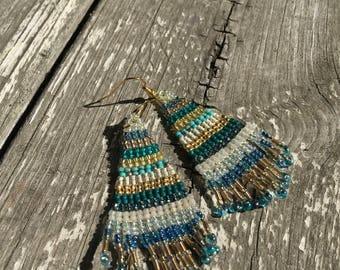 beadwork earrings, fringe earrings, beaded earrings, green and gold earrings, dangly earrings, boho, teal, turquoise