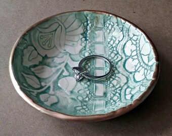 Ceramic Ring Bowl Trinket Dish Aqua Gold edged with lace ribbon