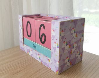 Happy Prancing Unicorns - Handmade Perpetual Wooden Block Calendar - Fairy Tale - Purple Pink Blue Magic Unicorn - Rainbows and Clouds
