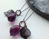 Plum Tart Earrings - Vintage Glass and Sterling - Rare Beads - Black Leaves, Purple Fruit - Last One
