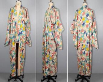 1930s silk kimono / lily / art nouveau / floral / dressing gown / vintage robe