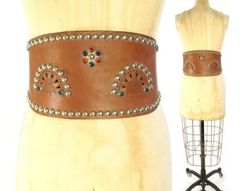 40s Studded & Rhinestone Leather Kidney Belt RARE Vintage Handmade Motorcycle Western Rodeo Biker Rock N Roll Wide Bronco Bullet Belt
