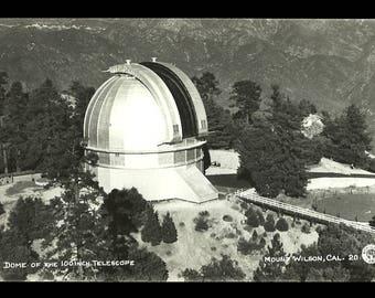 Telescope Dome Postcard Mt Wilson California 1953 Angeleno CA RPPC