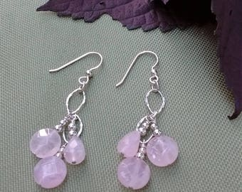Rose Quartz and Sterling Silver Dangle Earrings-Free Shipping
