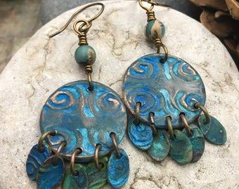 Copper Patina Earrings, Spiral Earrings, Dangle Earrings, Irish Celtic Jewelry, Boho Earrings, Verdigris Jewelry, Irish Gypsy Earrings