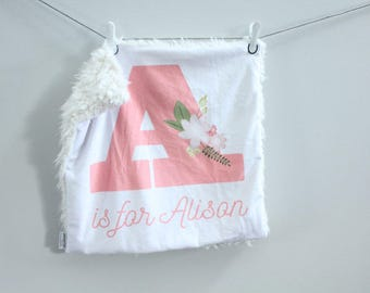 Personalized Initial Baby Blanket floral coral faux fur minky lovey baby gift cloud blanket llama newborn gift plush photo prop by PETUNIAS