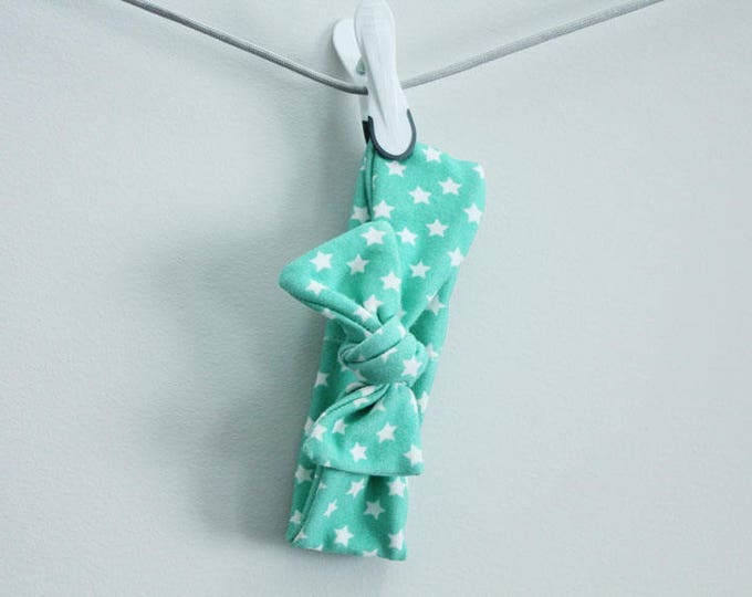 headband baby mint stars Organic knot by PETUNIAS  modern newborn shower gift photography prop outfit accessory girl