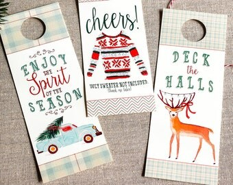 wine bottle tags for Christmas - gift for the host - rustic bottle tags - holiday liquor tags - hostess gift under 10 - holiday celebration