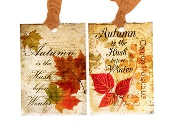 Fall Leaves Gift Tags, Autumn Quote, Vintage Leaves, Rustic Fall Tags, Farmhouse Style, Autumnal Colors, Maple Leaves, Sycamore Leaves