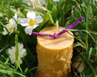 Pure Beeswax Wild Rose Pillar Candle / Handmade Candle / Candle Gift