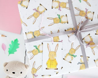 New Baby Rabbit Wrapping Paper Set - New Baby Gift Wrap - Bunny Rabbit Paper - Children's Gift Wrap - Animal Wrapping Paper
