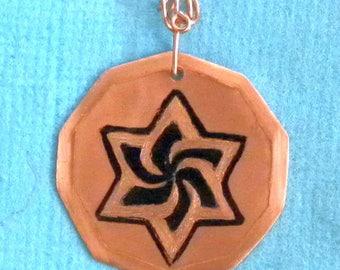 Copper Spiraling Six-Pointed Star decagon Pendant, black ink - Star of David, Jewish star, hexagram, unique kippah ornament, androgenous
