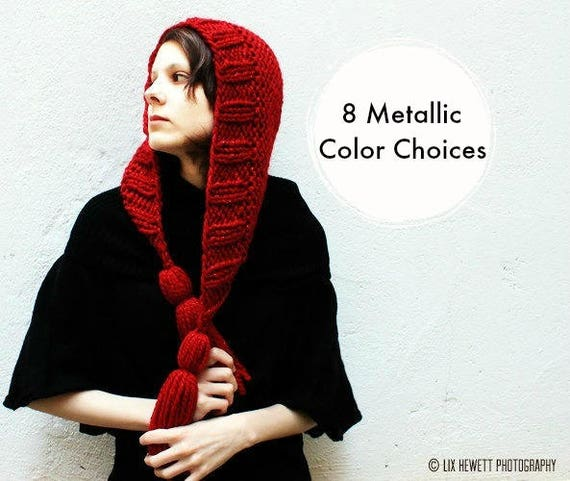 Red Womens Hat Knit Hood Red Ear Flap Hat - Tassel Hat Poinsettia Red Knit Hat - Red Winter Hat Knit Accessories - 8 Metallic Color Choices