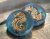 Cristal Marino (2) -Czech Glass Seahorse Coins 23mm
