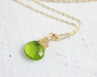 Bright Green Necklace, Gold Necklace, Quartz Gemstone Necklace, Small Pendant Necklace, Peridot Green Necklace, Bridesmaid Jewelry
