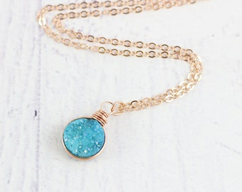 Sky Blue Druzy Necklace, Bridesmaid Necklace, Rose Gold Necklace, Druzy Pendant Necklace, Wire Wrap Necklace, Druzy Geode Necklace
