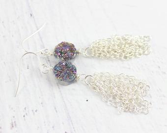 Silver Tassel Earrings, Long Dangle Earrings, Druzy Tassel Earrings, Rainbow Druzy Earrings, Silver Chain Earrings, Druzy Gemstone Earrings