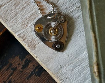 Silver Steampunk Guitar Pick Necklace - Mens Necklace - Musician Pendant - Clockwork Gears - Gift For Him - Custom Guitar Pick