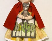 Little Red Riding Hood and Wolf Hand-Painted Original Folk Art Soft Sculpture Doll with Dolly OOAK