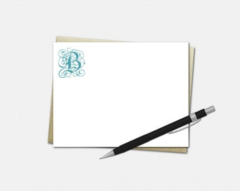 Personalized Note Cards - Set of 10 - Flat Note Cards - 26 Font Choices - 50 Color Choices - Simple Initial Note Cards