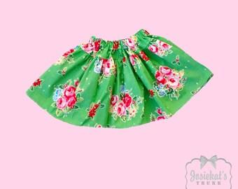 Rose Christmas Skirt -Retro Girl Skirt - Infant Christmas Skirt - Girl Twirl Skirt - Christmas Tween Skirt - Holly Sizes 6 month - Girl 16