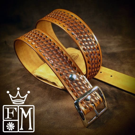 """Tan leather belt Tooled basket weave with waved border Polished nickel buckle 1-3/4"""" wide handmade for YOU in USA by Freddie Matara"""