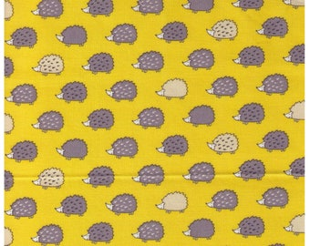 HALF YARD Westex - Grey and Cream Hedgehogs on YELLOW - Rows of Cute Hedgies - Imported Japanese