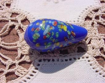 Royal Blue XLG Vintage Millefiori Glass Focal Bead Drop