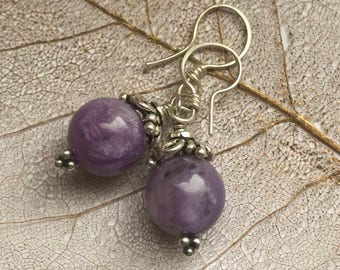Yummy charoite and silver earrings