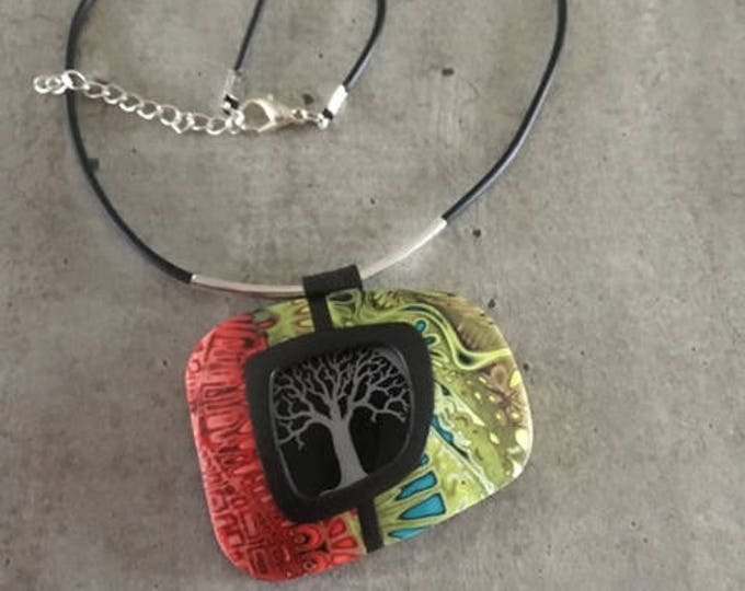 necklace with polymer clay pendant - life tree -  new collection
