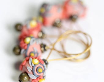 Sock and Lace Size Deluxe Set of Five Handmade Floral Polymer Clay Stitch Markers, Just Juicy