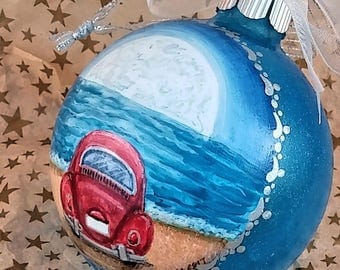 Just Married Beach Ornament, Moonrise at Beach, Beach Wedding Gift, Romantic Moon, Red Car at Beach, 1st Christmas, Beach Wedding Ornament