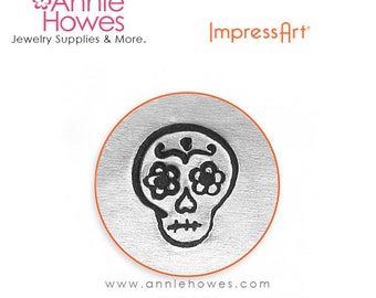 Impressart Metal Stamp for Jewelry Stamping - Sugar Skull Design Shape