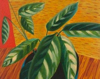 Potted Tropical Leaf Plant Dieffenbachia Still Life Original Oil on Canvas