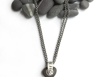 Almost Black Natural Lake Erie Beach Stone Sterling Silver Pendant on 18 Inch Double Cable Chain Dots Circles Lines Stamped Rotates Kinetic