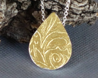 Gold Teardrop Pendant, Etched Pendant, Keum Boo Pendant, Hollow Form Pendant, Carved Teardrop