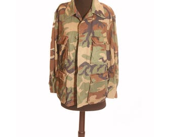 Vintage 1990s Pocketed Army Camouflage Military Jacket