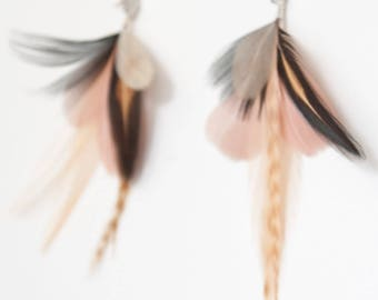 Feather Earrings. Silver Cloud Stud Blush Pink Natural Feather Earrings. Long Black and Cream Dangle Earrings. Spring Fashion SS17