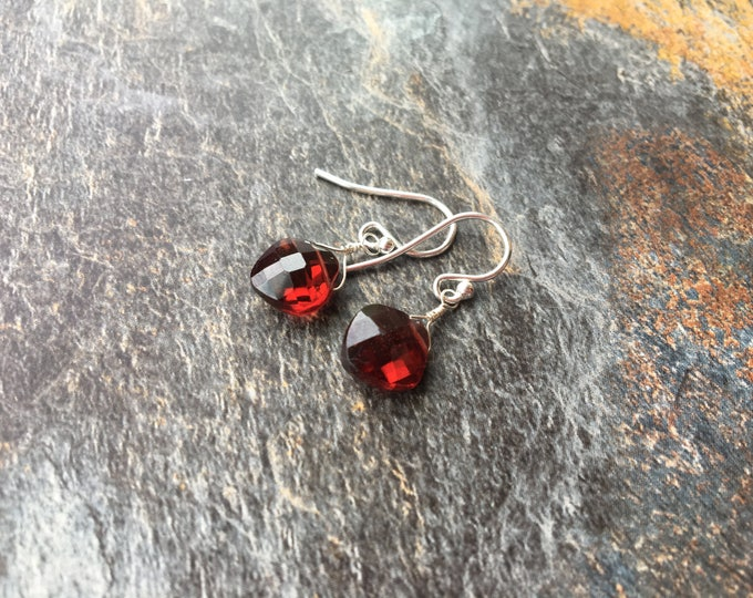 Sterling Silver and Mozambique Garnet Earrings minimalist, Delicate, Dainty, Small