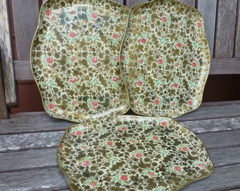 Floral lacquer tray roses and gold vintage cottage chic KickstandProductions